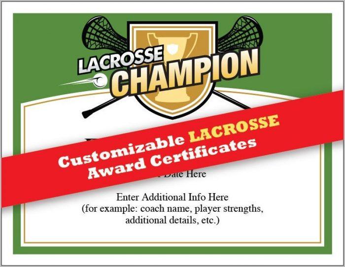 Lacrosse Award Certificate Template