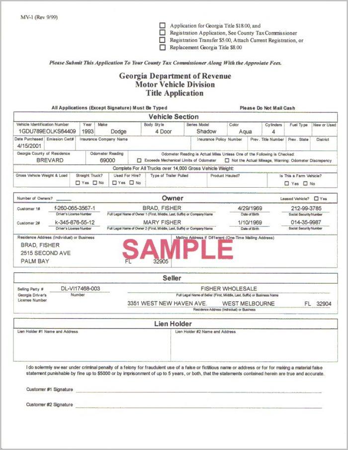 Lien Release Form Ga Dmv Form Resume Examples