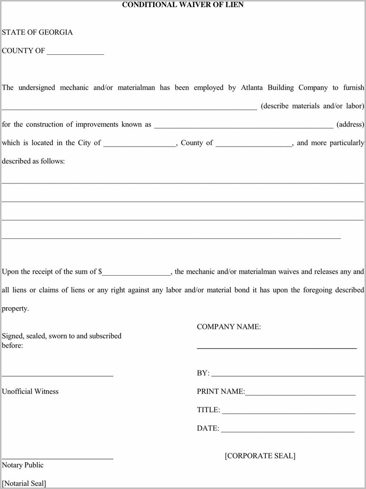 Lien Release Form | Lien Release Form Ga Form Resume Examples