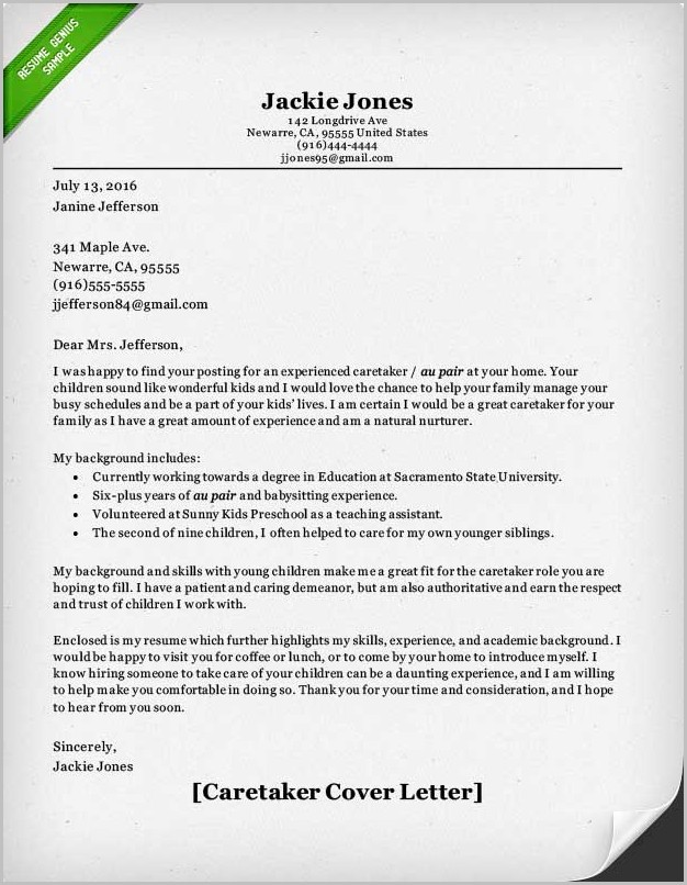 Live In Caregiver Sample Cover Letter