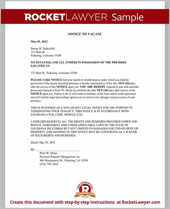 Louisiana Notice Of Eviction Form