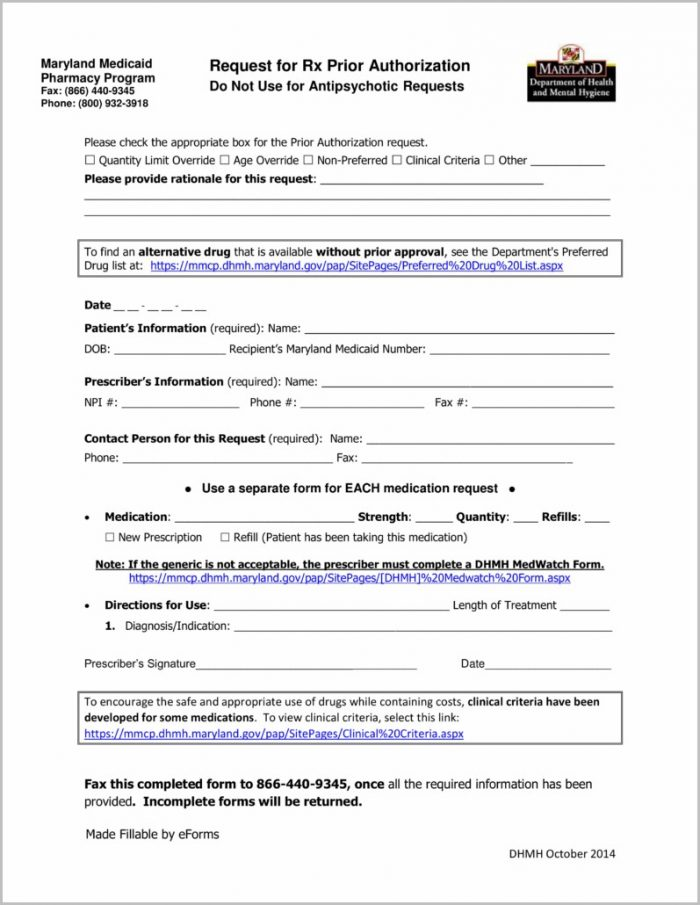Medicaid Application Form For Maryland