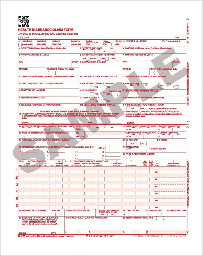 Medicaid Claim Form 1500