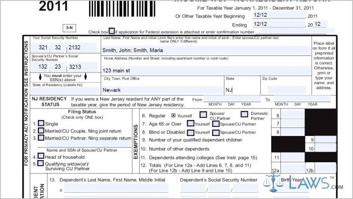 New Jersey 1040ez Tax Form 2015