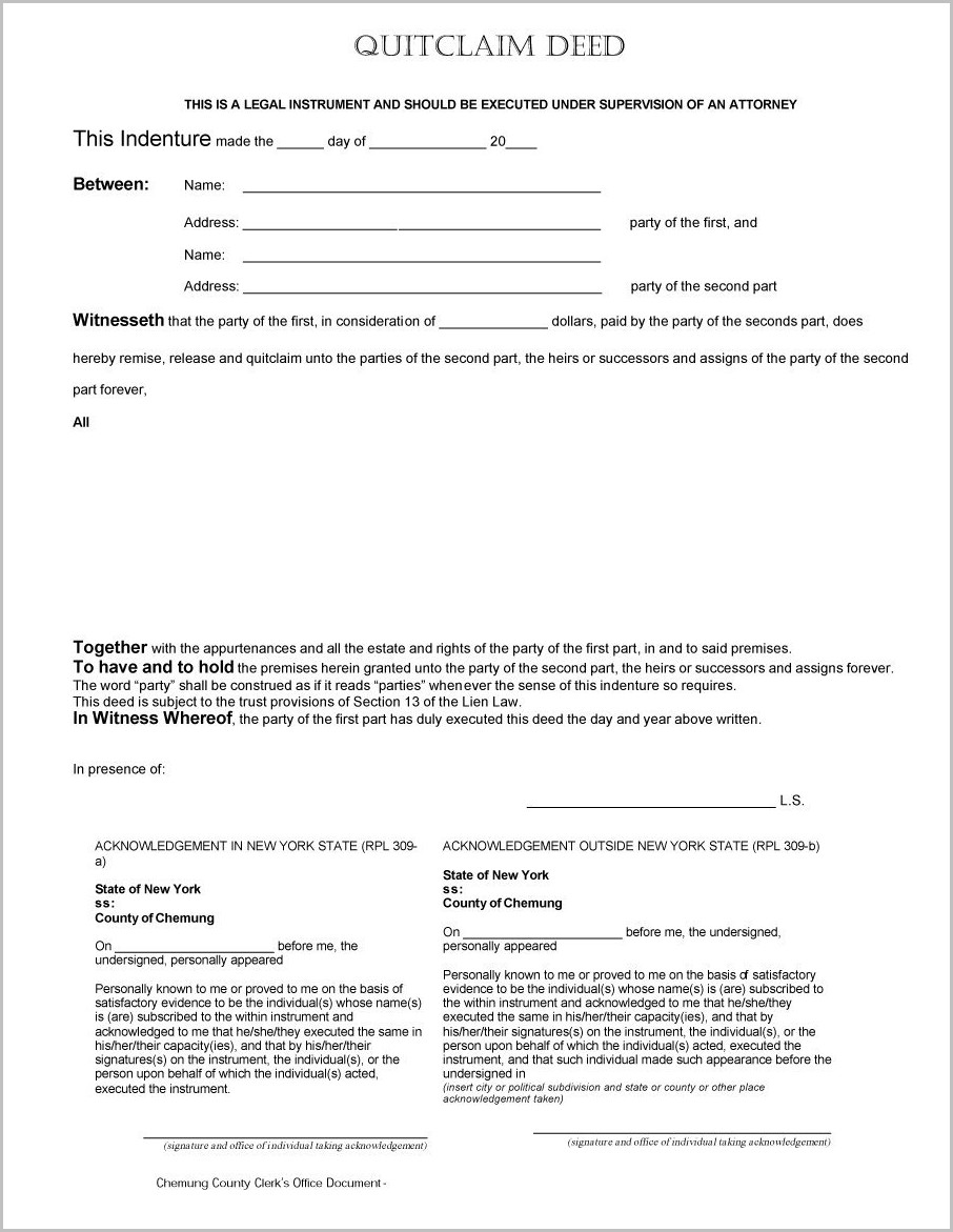New York Special Warranty Deed Form