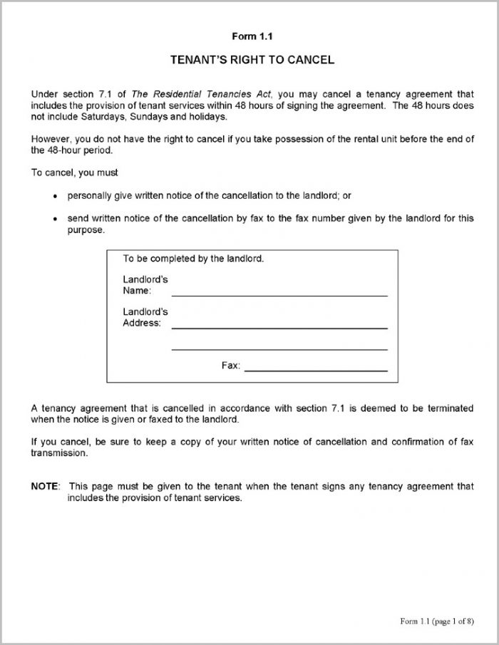 Notice Of Eviction Form Manitoba