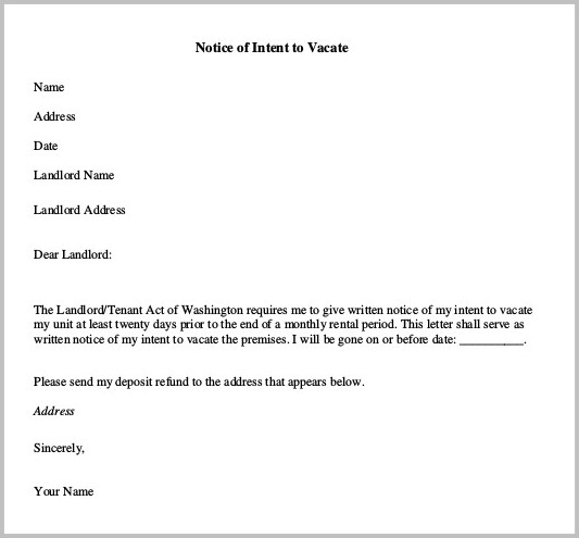 Notice Of Intent To Vacate Form Letter
