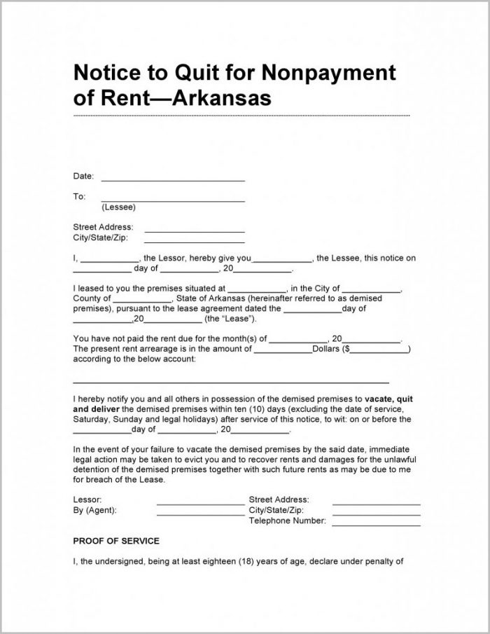 Notice To Vacate Form Arkansas