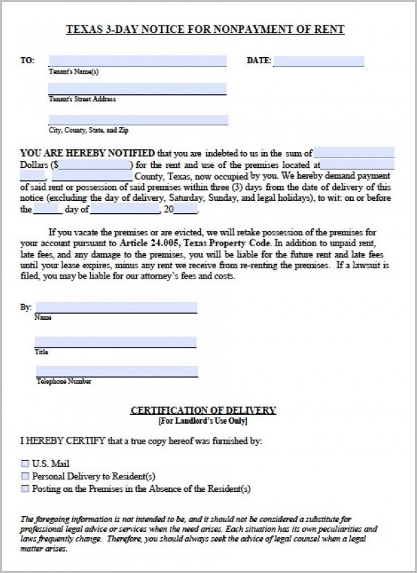 Notice To Vacate Form In Texas