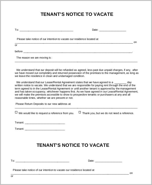 Notice To Vacate Form Pdf