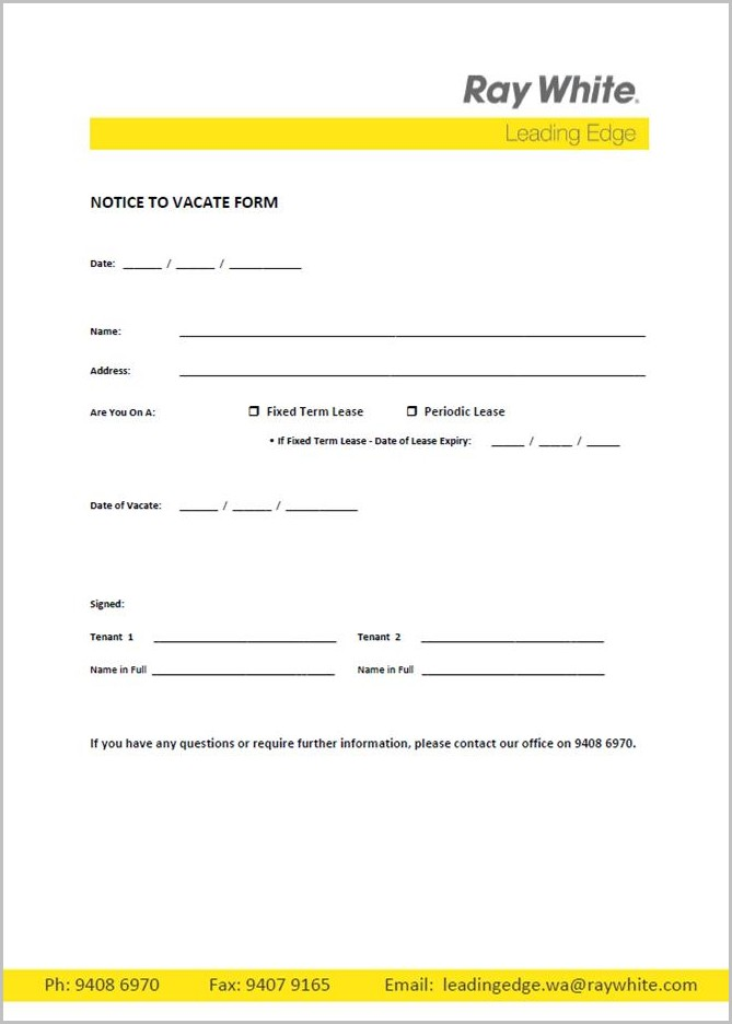 Notice To Vacate Form Reiv