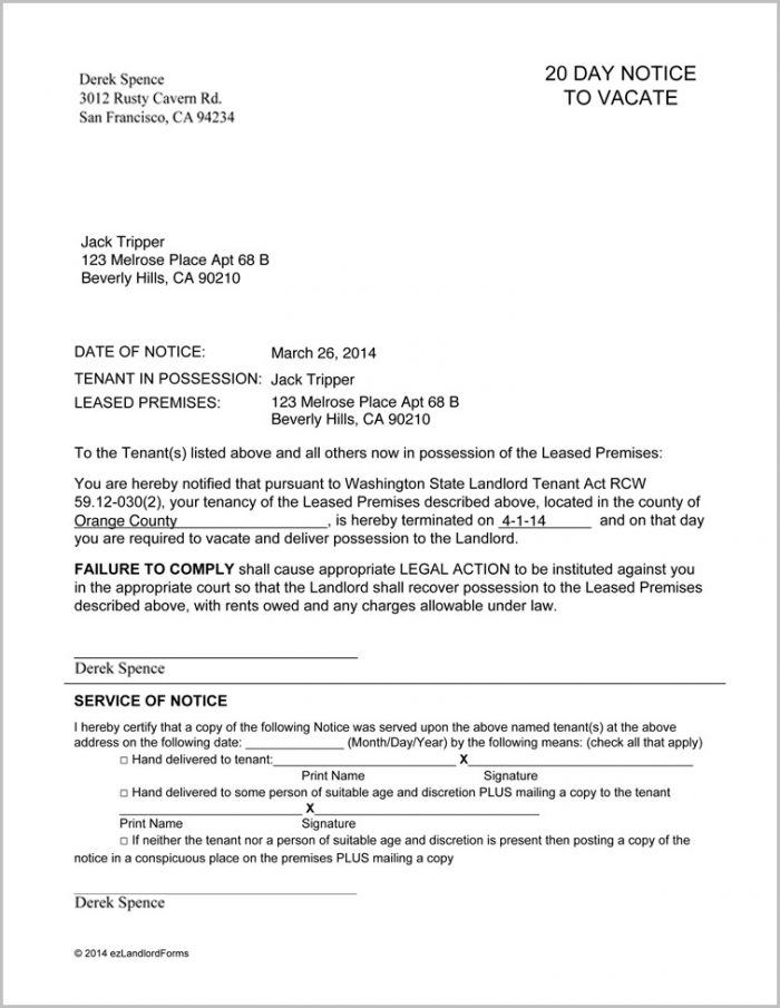 Notice To Vacate Form Washington State