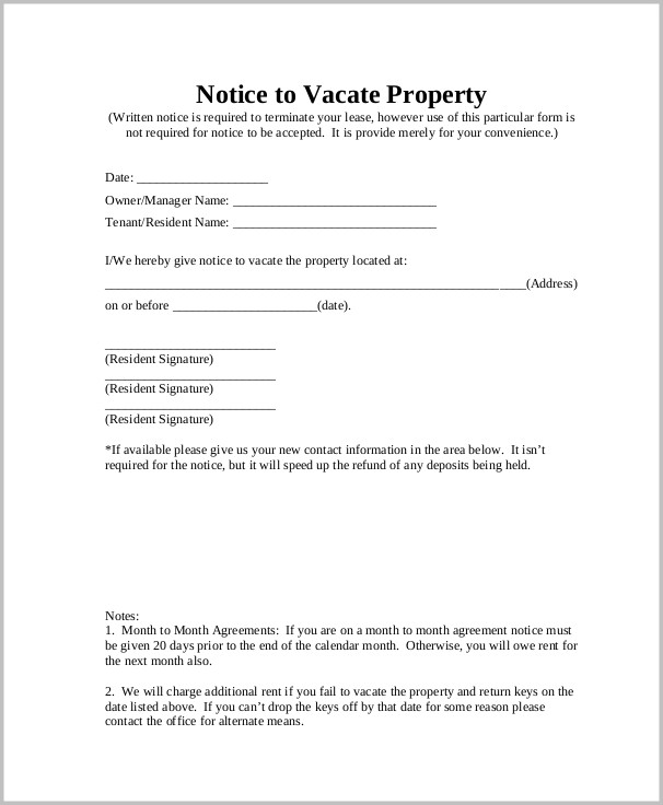 Notice To Vacate Property Form