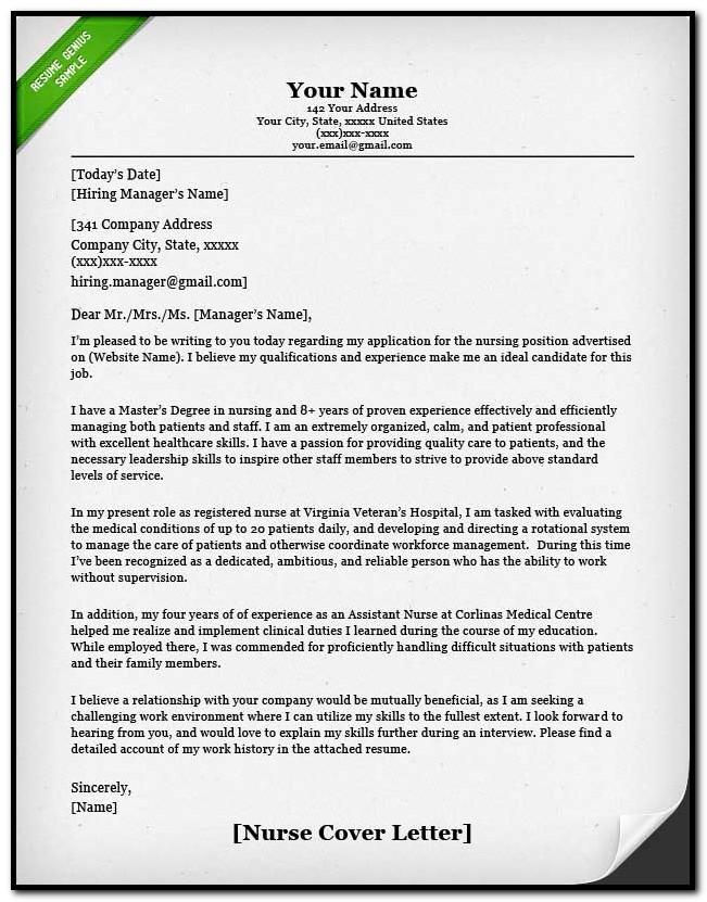 Nursing Cover Letter Samples Free