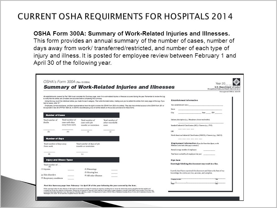 Or Osha Form 300a