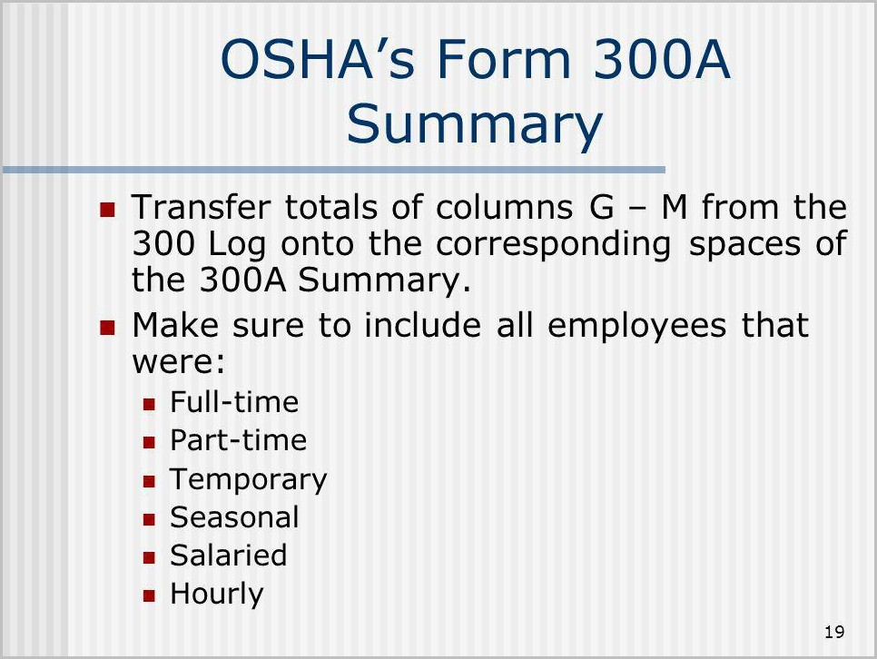 Osha Form 300a Average Number Of Employees