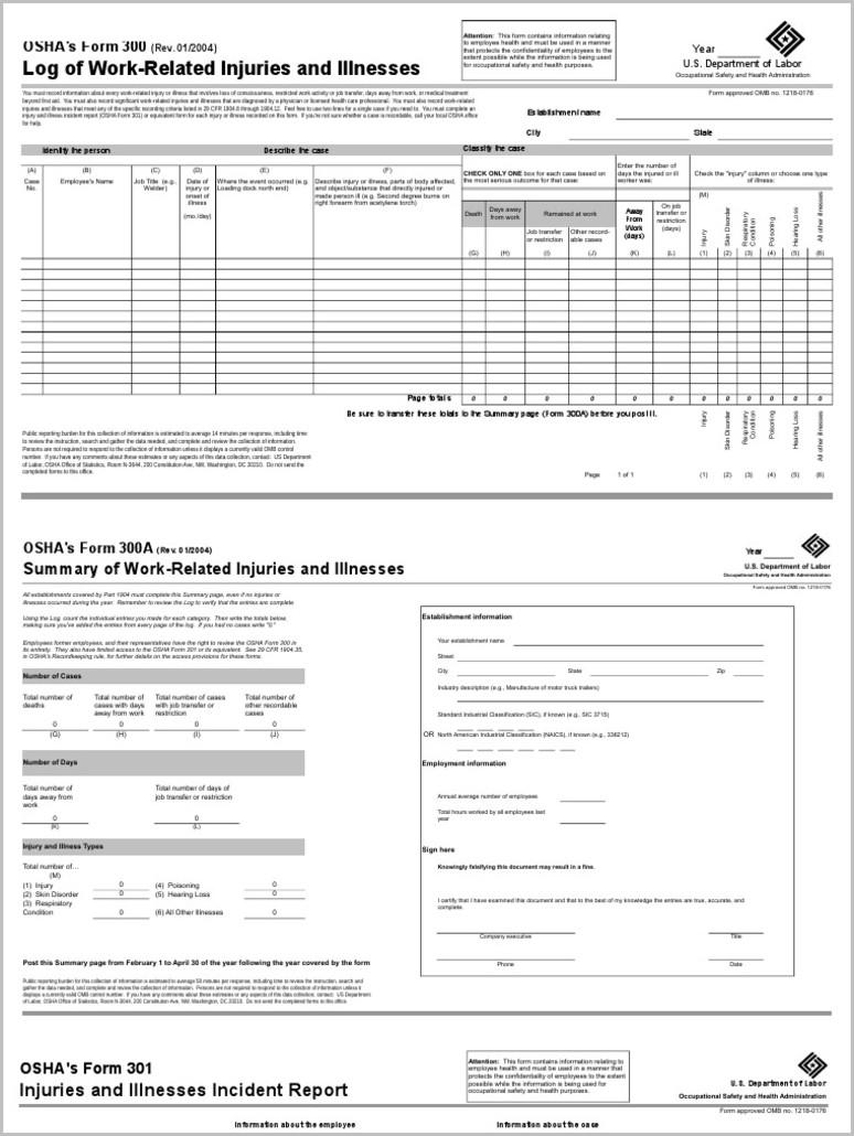 Osha Form 300a Us Department Of Labor
