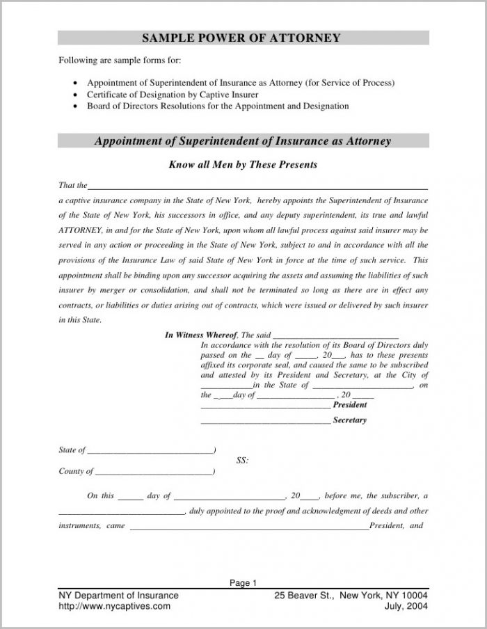 Pa Corporate Power Of Attorney Form
