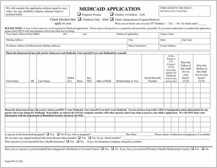 Pregnancy Medicaid Application Form Texas