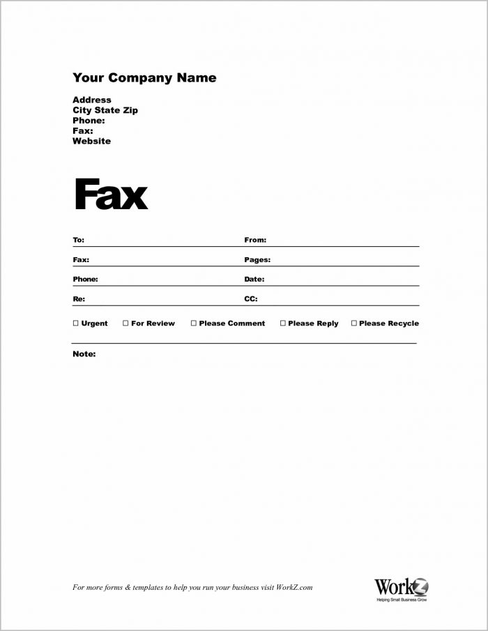 Printable Fax Cover Letter Template