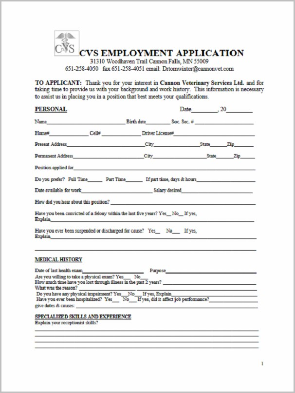 Printable Job Application Form For Goodwill