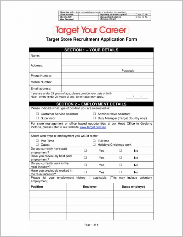 printable job application form coles job