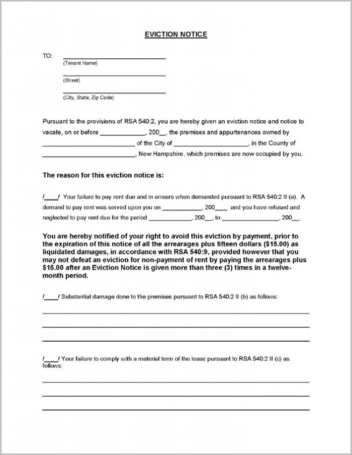 Printable Notice Of Eviction Form