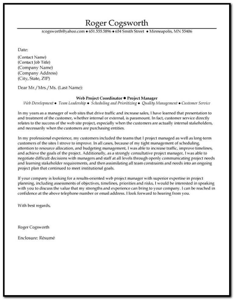 Project Planner Cover Letter Examples