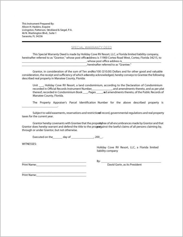 Property Warranty Deed Form