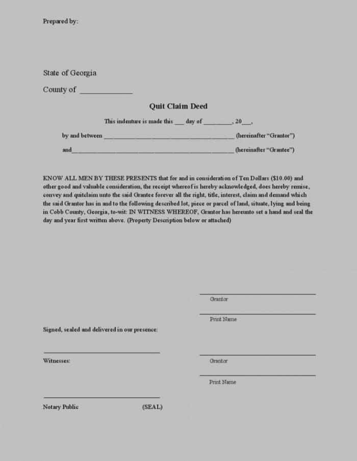 Quit Claim Deed Form Georgia Free