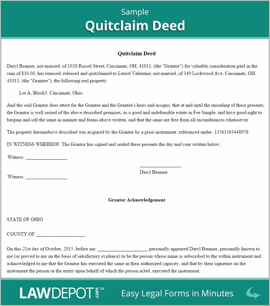 Quitclaim Warranty Deed Form