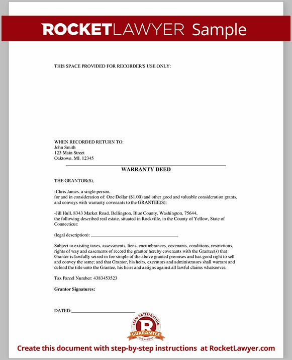 Real Estate Warranty Deed Form