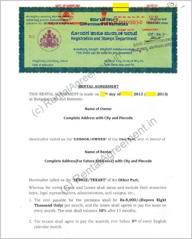 Rental Agreement Format In Word Chennai