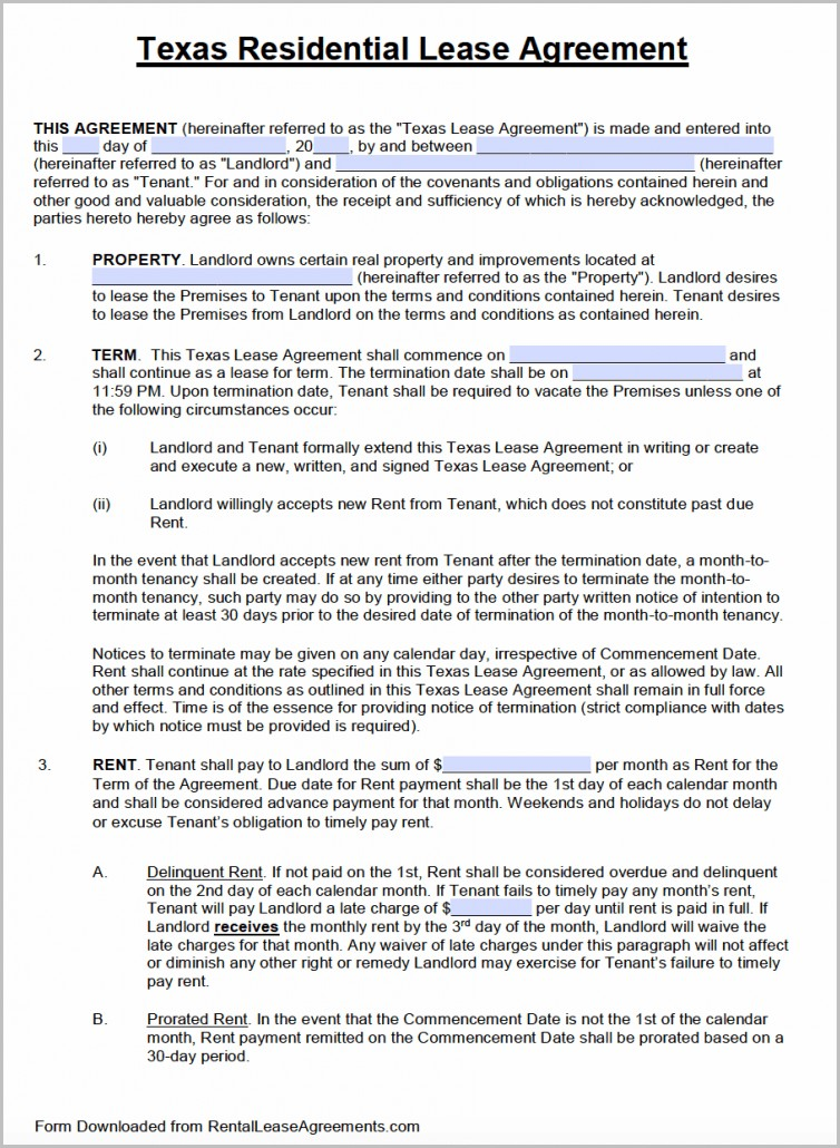 Rental Lease Agreement Template Word