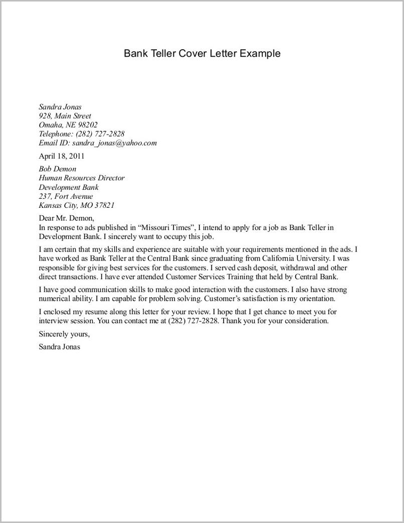Resume Cover Letter Examples Bank Teller Cover-letter ...