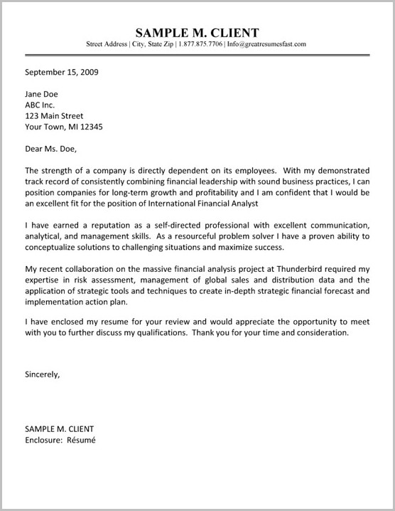 Resume Cover Letter Examples Financial Analyst