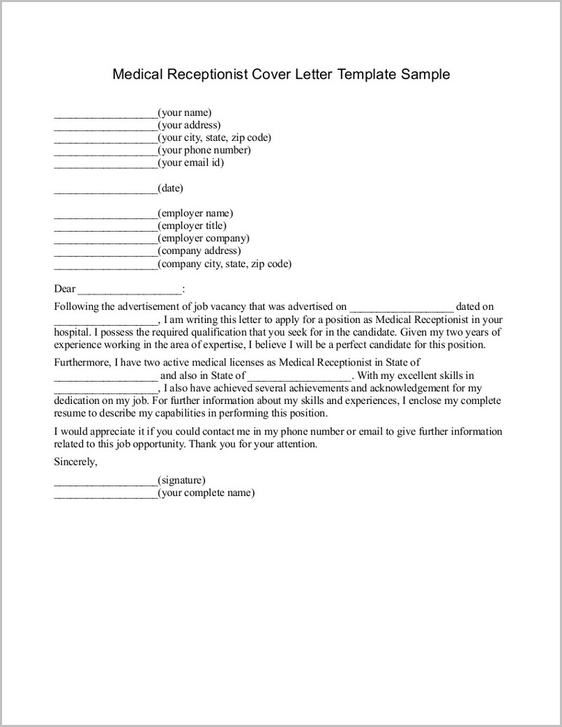 Resume Cover Letter Examples Medical Receptionist