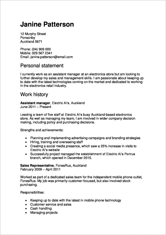 Resume Cover Letter Examples Nz