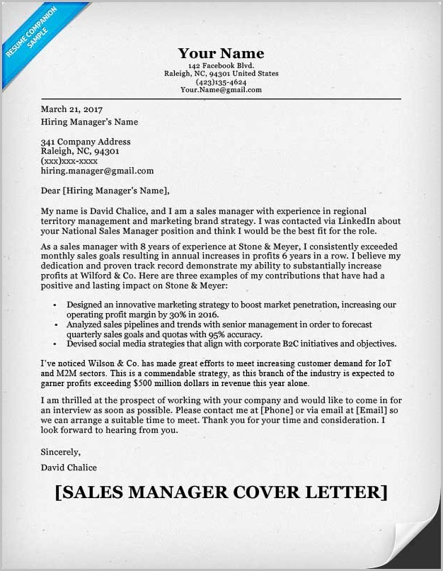 Resume Cover Letter Examples Sales Management