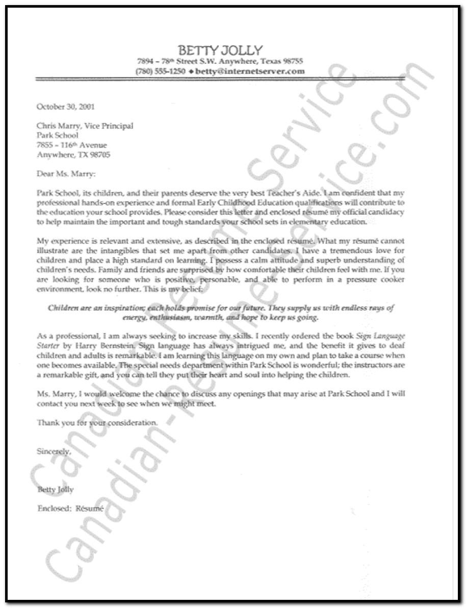 Resume Cover Letter For Teacher Aide