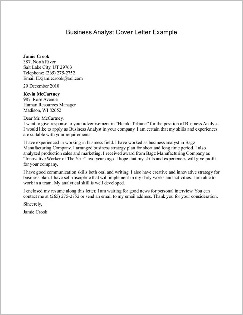 Resume Cover Letter Samples For Business Analysts