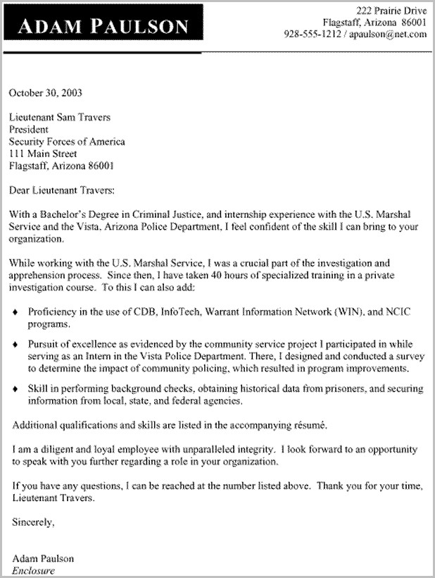 Resume Cover Letter Samples For Criminal Justice