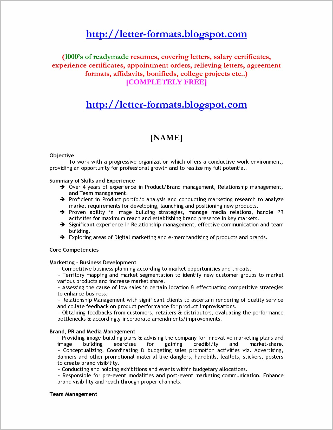 Resume Cover Letter Samples For Mba Freshers
