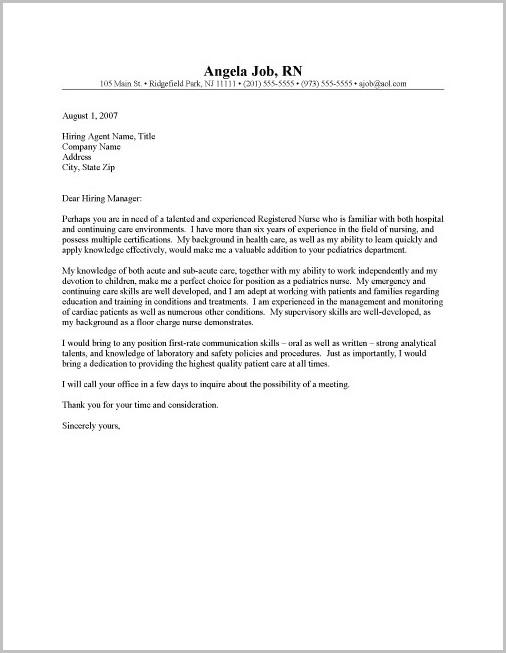 Resume Cover Letter Samples For New Nurses