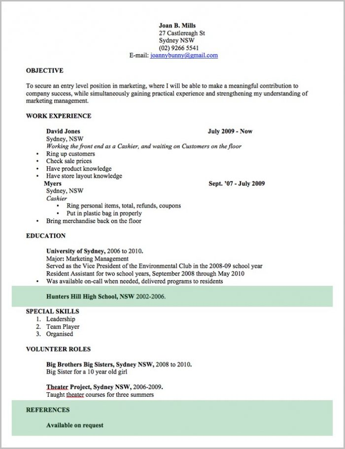 Resume Template Word Australia Free