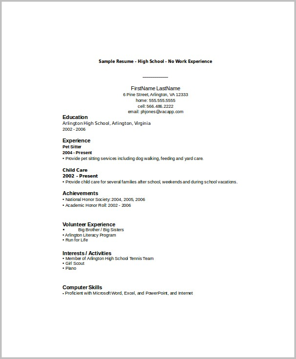 Resume Template Word For High School Students