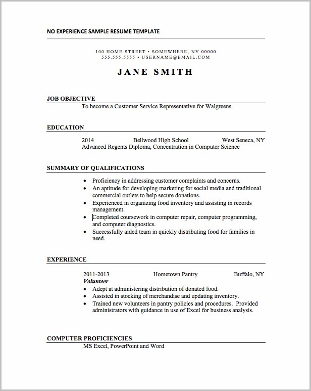 Resume Template Word No Experience