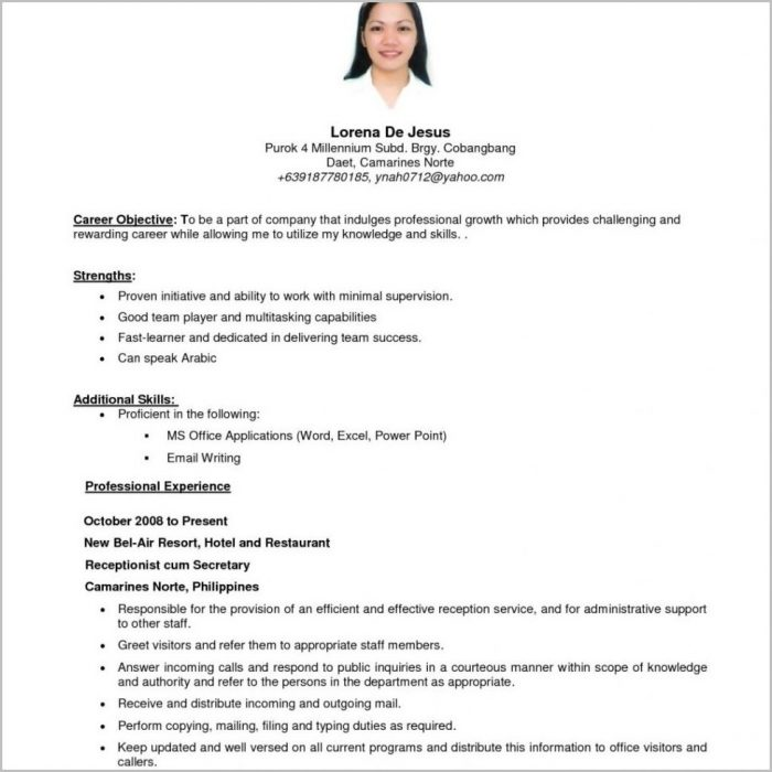 Resume Template : Splendid Simple Filipino Resume Format Parlo With Simple Resume Sample Filipino