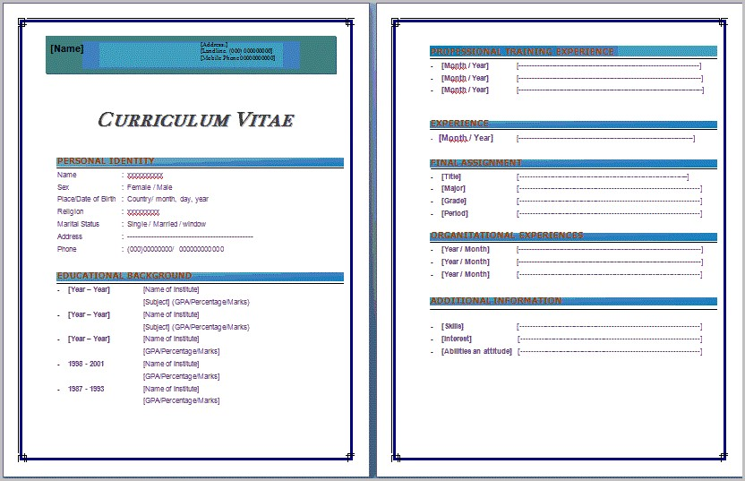 Resume Templates For Ms Word 2007 Templates-1 : Resume Examples