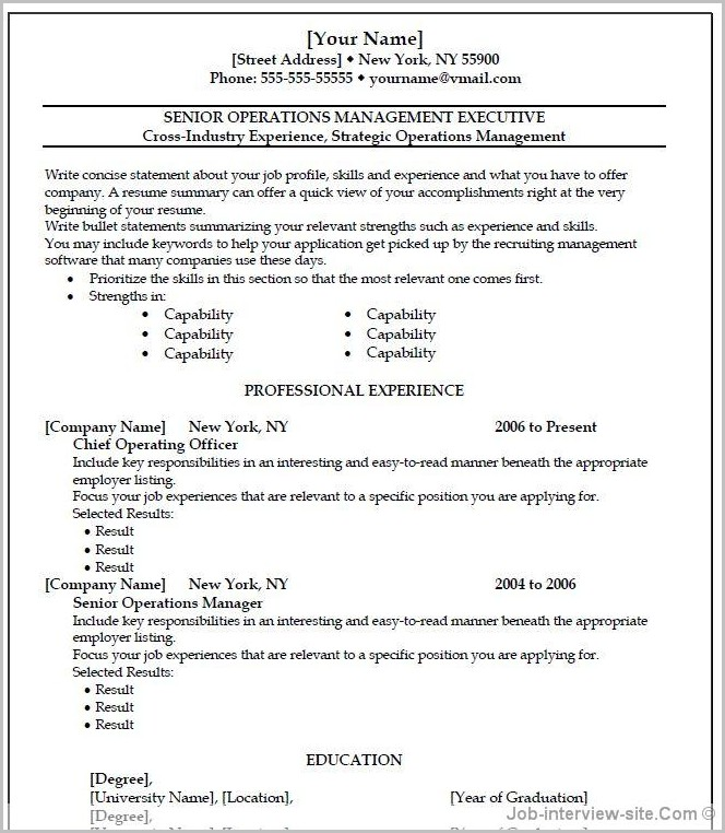 Free Resume Templates For Wordpad 1 Examples